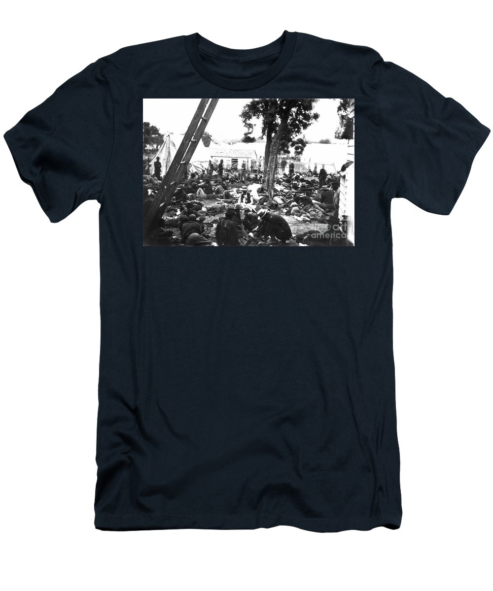 1862 Men's T-Shirt (Athletic Fit) featuring the photograph Civil War Hospital, 1862 by Granger
