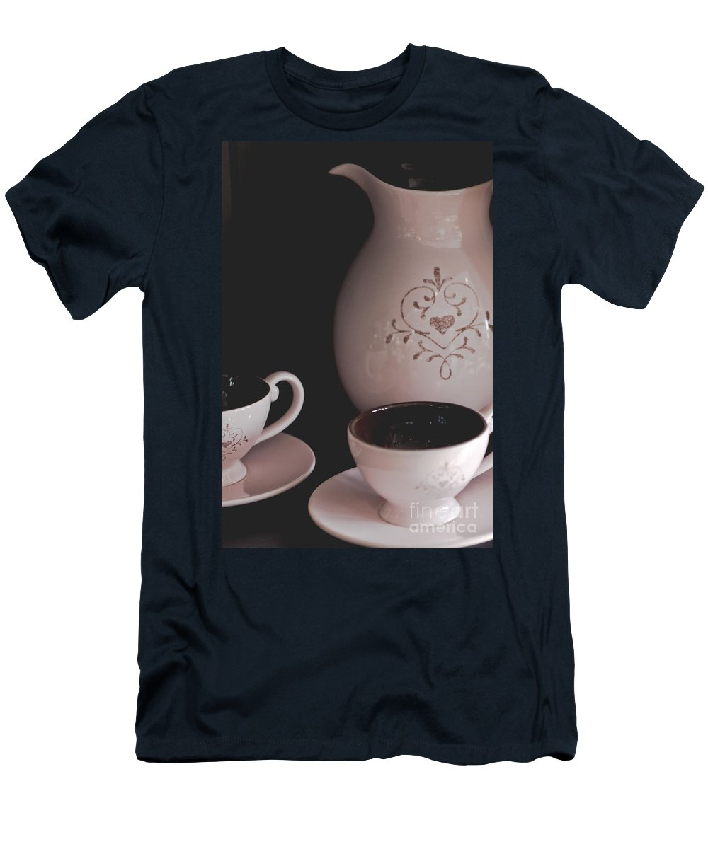 Coffee; Mugs; Object; Cup; Indoors; Inside; Craft; Pot; Decorative; Feminine; Pretty; Drink; Still Life; Breakfast; Morning; Cafe; Wake Up; Saucer Men's T-Shirt (Athletic Fit) featuring the photograph Coffee Service by Margie Hurwich