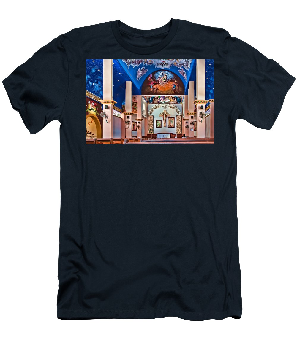 Architecture Men's T-Shirt (Athletic Fit) featuring the photograph Colorful Church by Maria Coulson