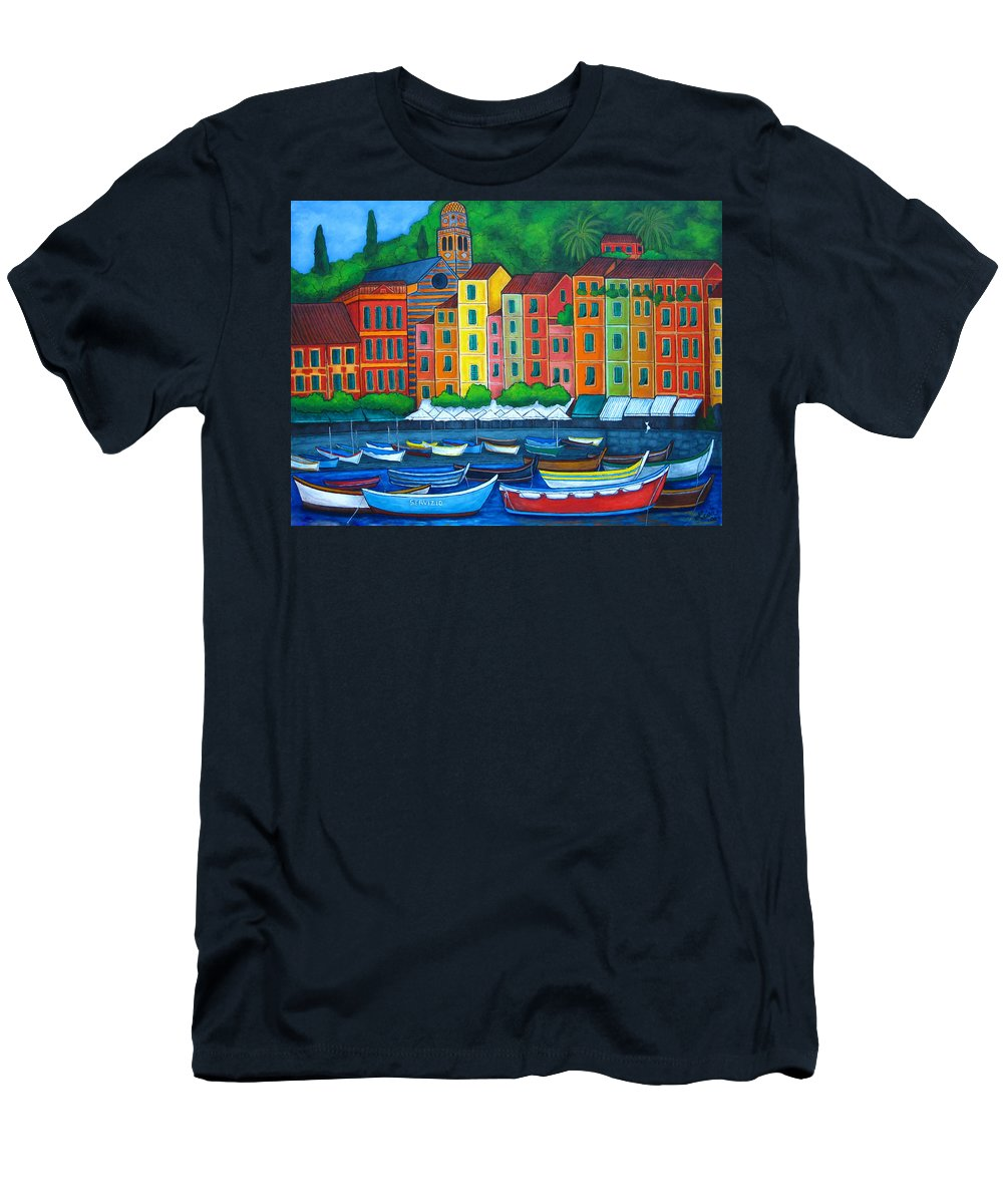 Portofino Men's T-Shirt (Athletic Fit) featuring the painting Colours Of Portofino by Lisa Lorenz