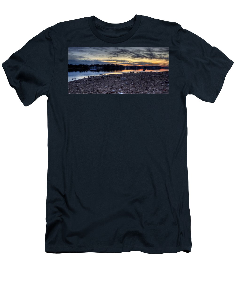 Sunset Men's T-Shirt (Athletic Fit) featuring the photograph Cool Winter Sunset by David Dufresne