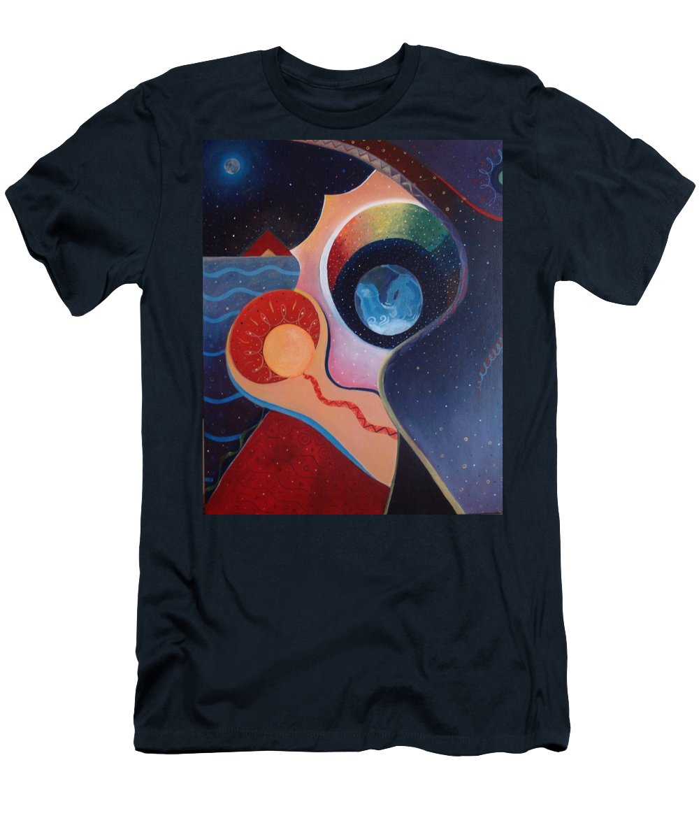 Wanting Men's T-Shirt (Athletic Fit) featuring the painting Cosmic Carnival IIl Aka Desire by Helena Tiainen