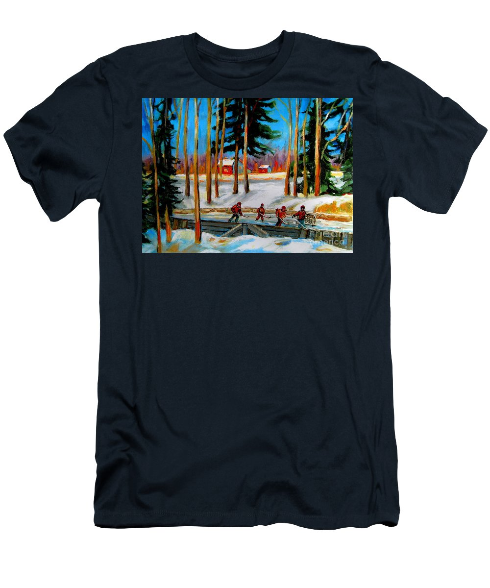 Country Hockey Rink T-Shirt featuring the painting Country Hockey Rink by Carole Spandau