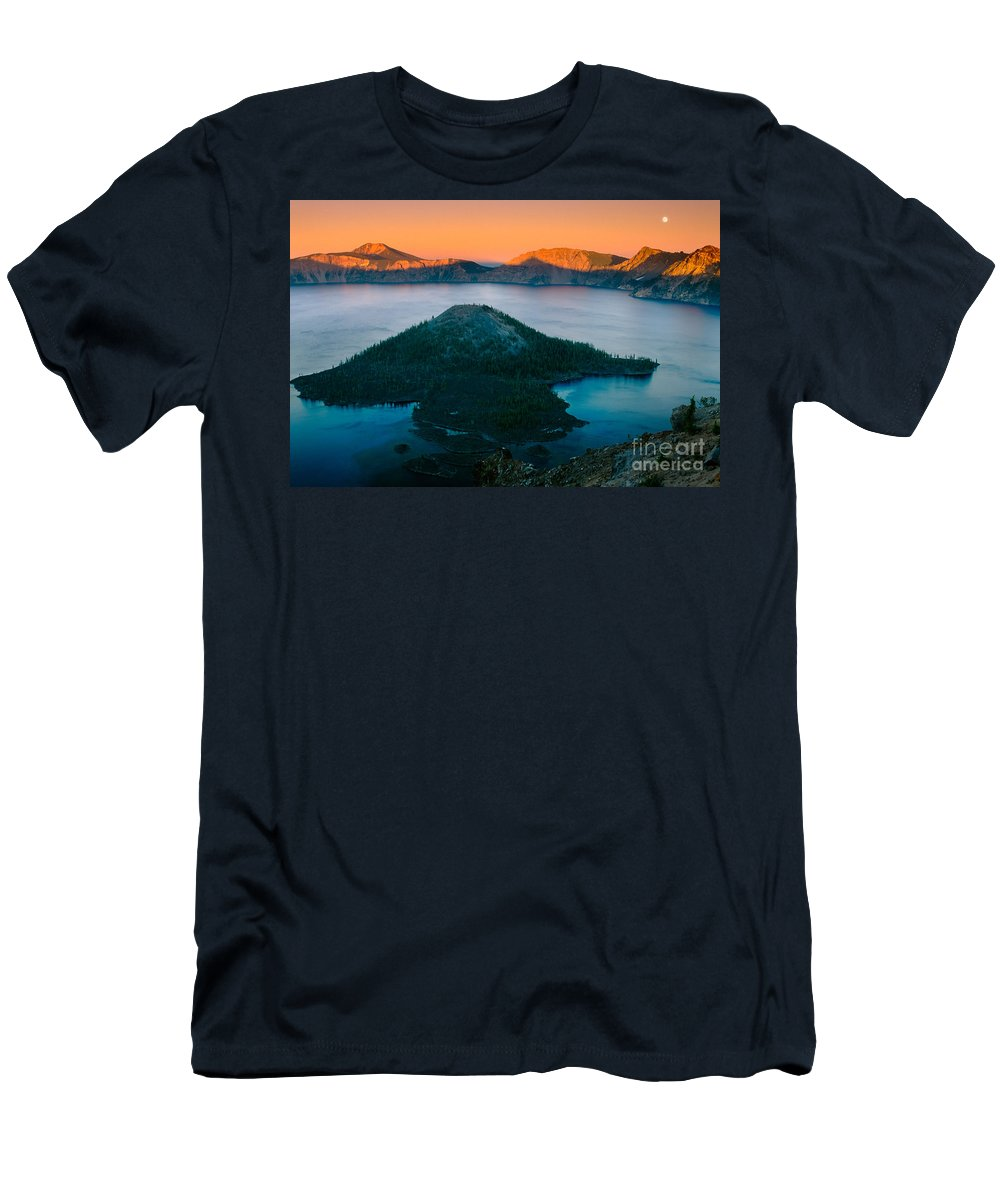 America Men's T-Shirt (Athletic Fit) featuring the photograph Crater Lake Sunset by Inge Johnsson