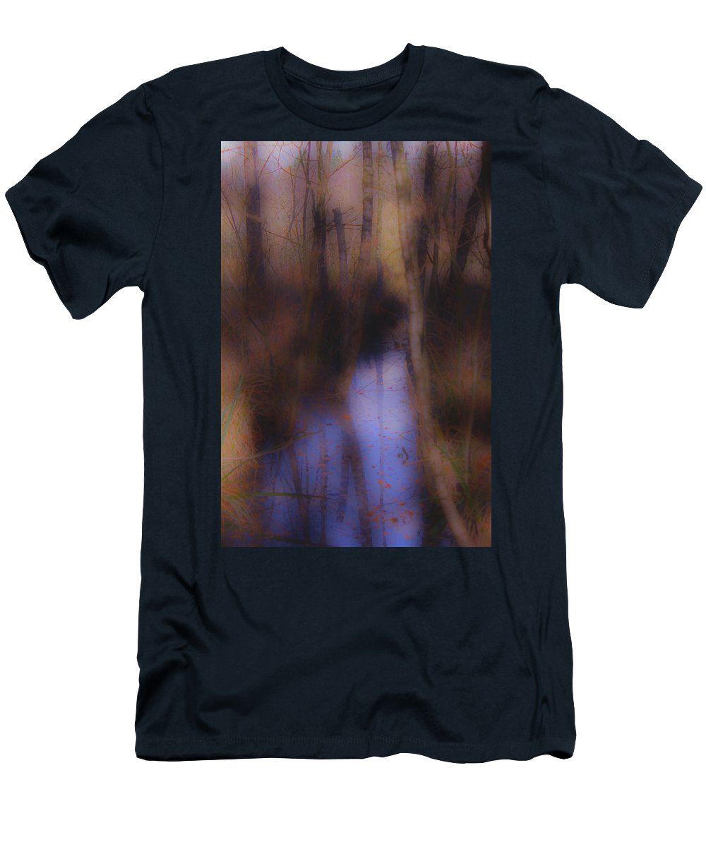 Autumn Men's T-Shirt (Athletic Fit) featuring the photograph Creek In The Autumn Mist by Guna Andersone