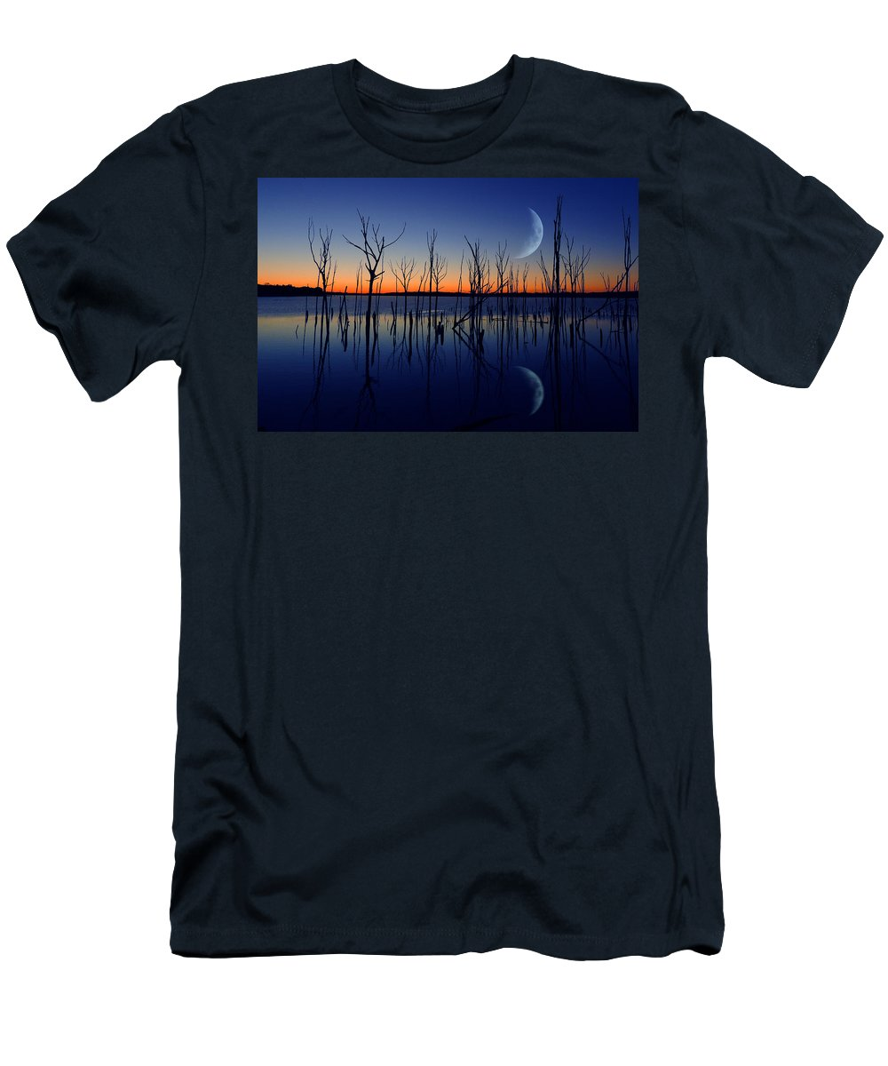 Crescent Moon Men's T-Shirt (Athletic Fit) featuring the photograph The Crescent Moon by Raymond Salani III