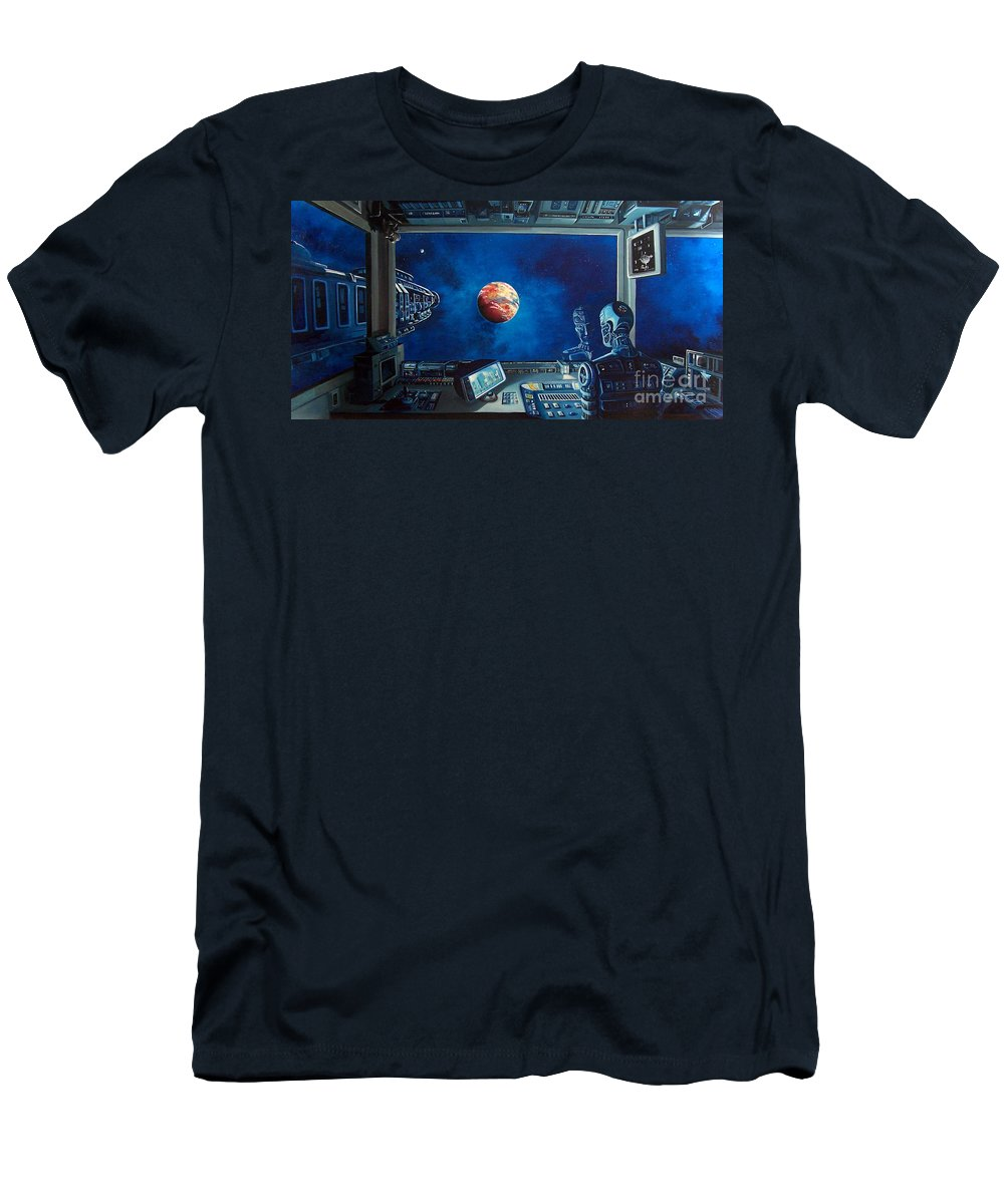 Fantasy Men's T-Shirt (Athletic Fit) featuring the painting Crying Robot by Murphy Elliott