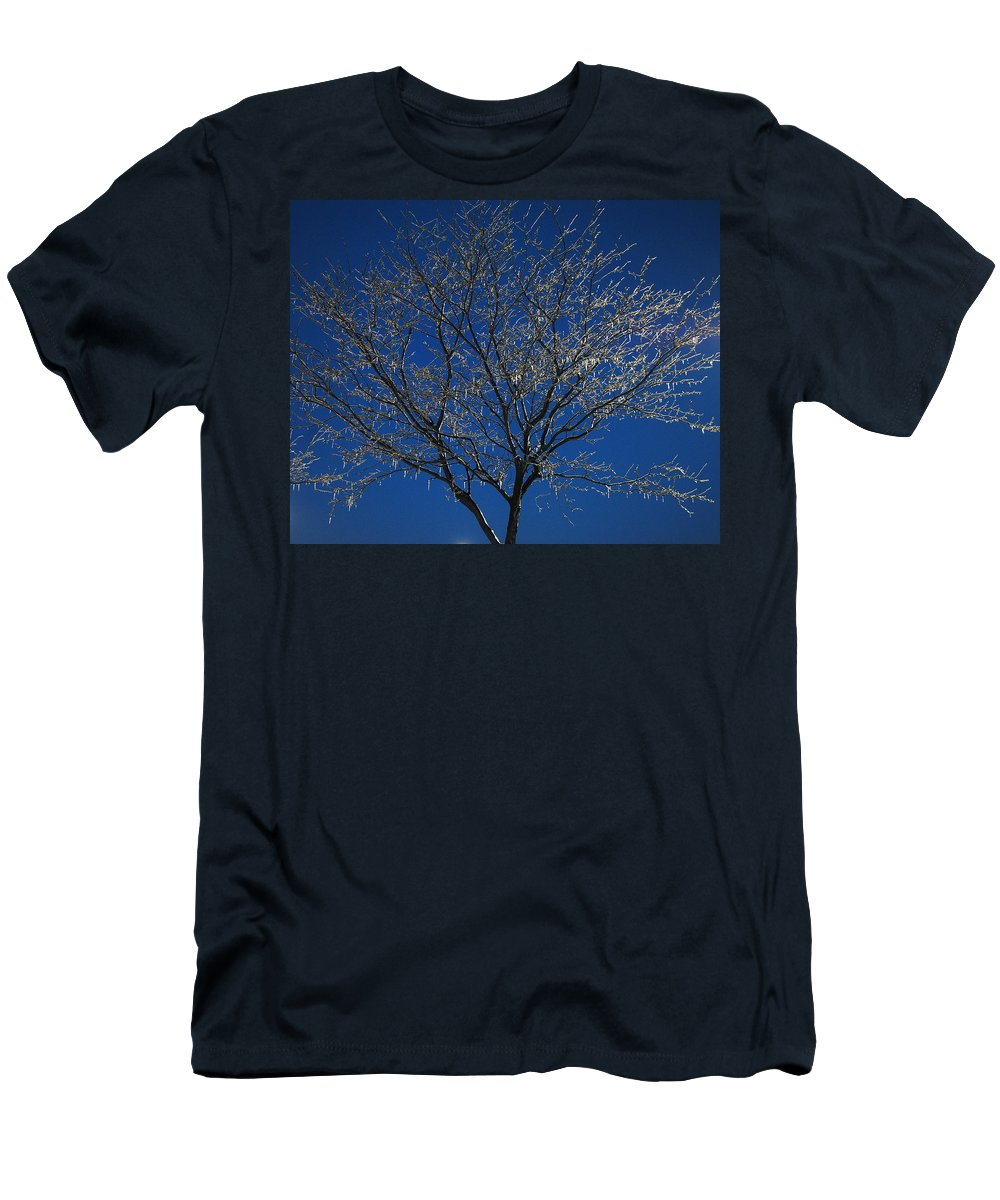 Crystal Men's T-Shirt (Athletic Fit) featuring the photograph Crystal Blue by Frozen in Time Fine Art Photography