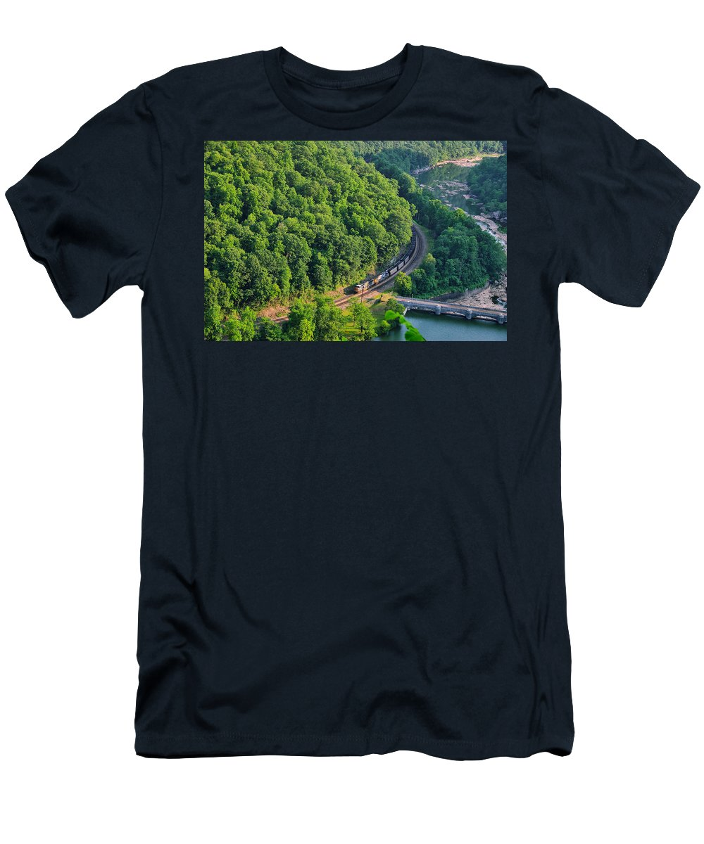 Hawks Nest State Park Men's T-Shirt (Athletic Fit) featuring the photograph Csx Train At Hawks Nest Dam by Mary Almond