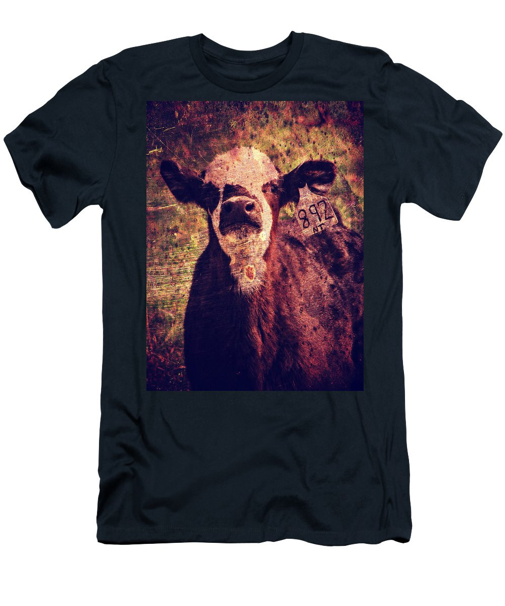 Calf Men's T-Shirt (Athletic Fit) featuring the digital art Cute Calf Grunge by Cassie Peters