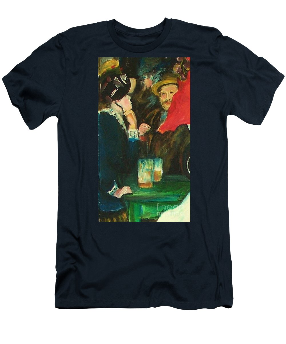 Dance At Bougival Men's T-Shirt (Athletic Fit) featuring the painting Dance At Bougival Close Up by Eric Schiabor
