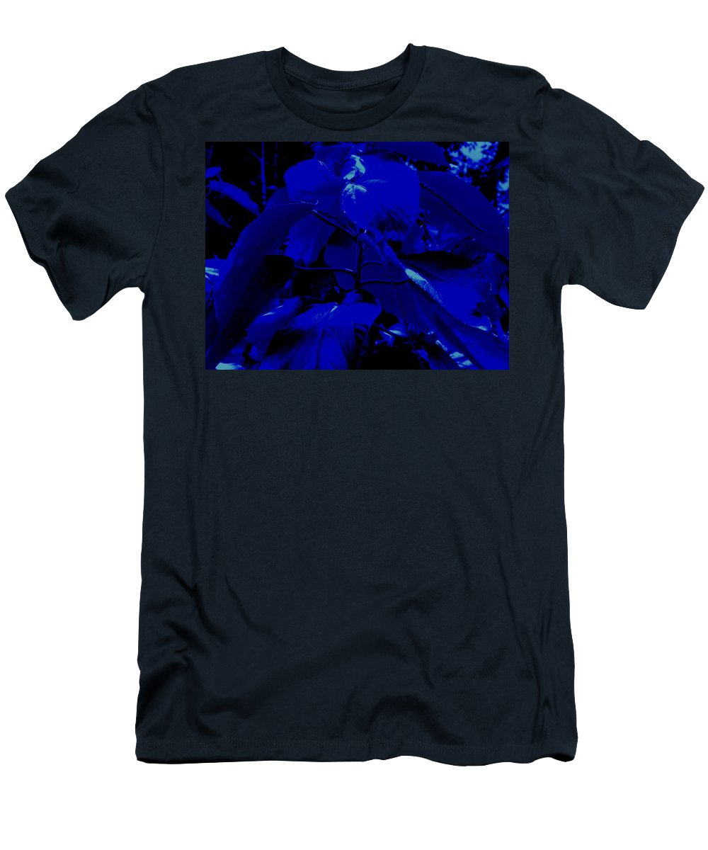 Leaves Men's T-Shirt (Athletic Fit) featuring the photograph Dark Blue Leaves by Ian MacDonald