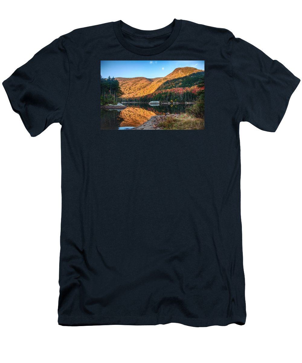 Autumn Men's T-Shirt (Athletic Fit) featuring the photograph Dawn Over Kinsman Notch by Jeff Folger