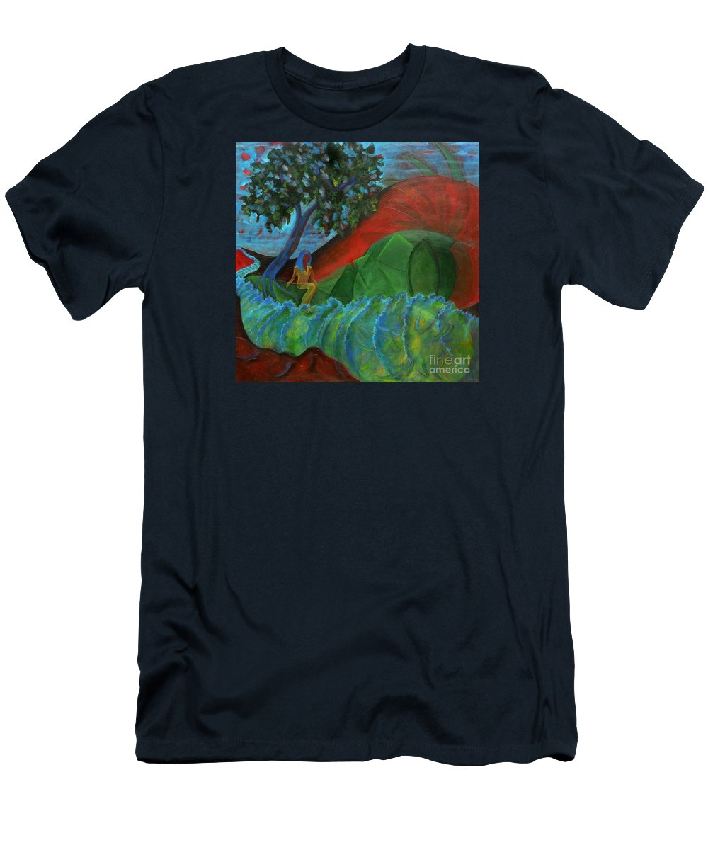 Surreal Landscape Men's T-Shirt (Athletic Fit) featuring the painting Uncertain Journey by Elizabeth Fontaine-Barr