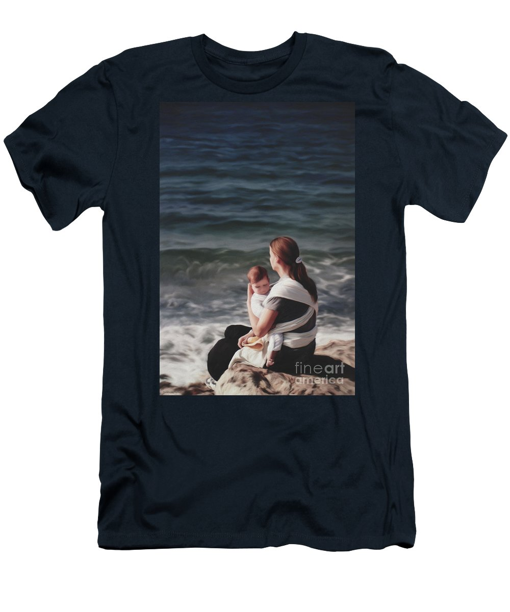 Mother And Child Art Men's T-Shirt (Athletic Fit) featuring the painting Deep Love by Constance Woods