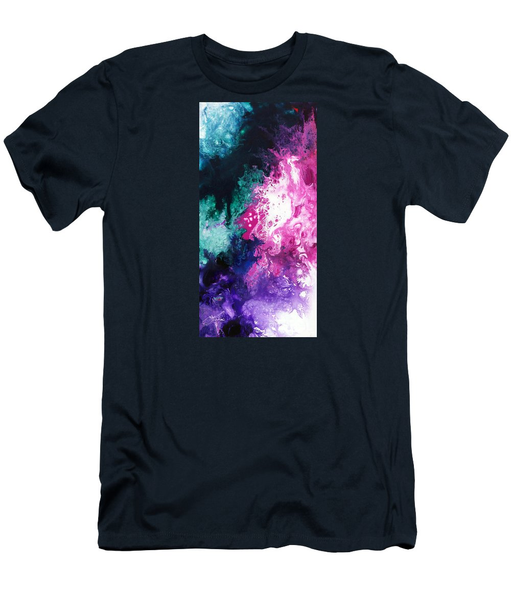 Abstract Men's T-Shirt (Athletic Fit) featuring the painting Deep Space Canvas Three by Sally Trace