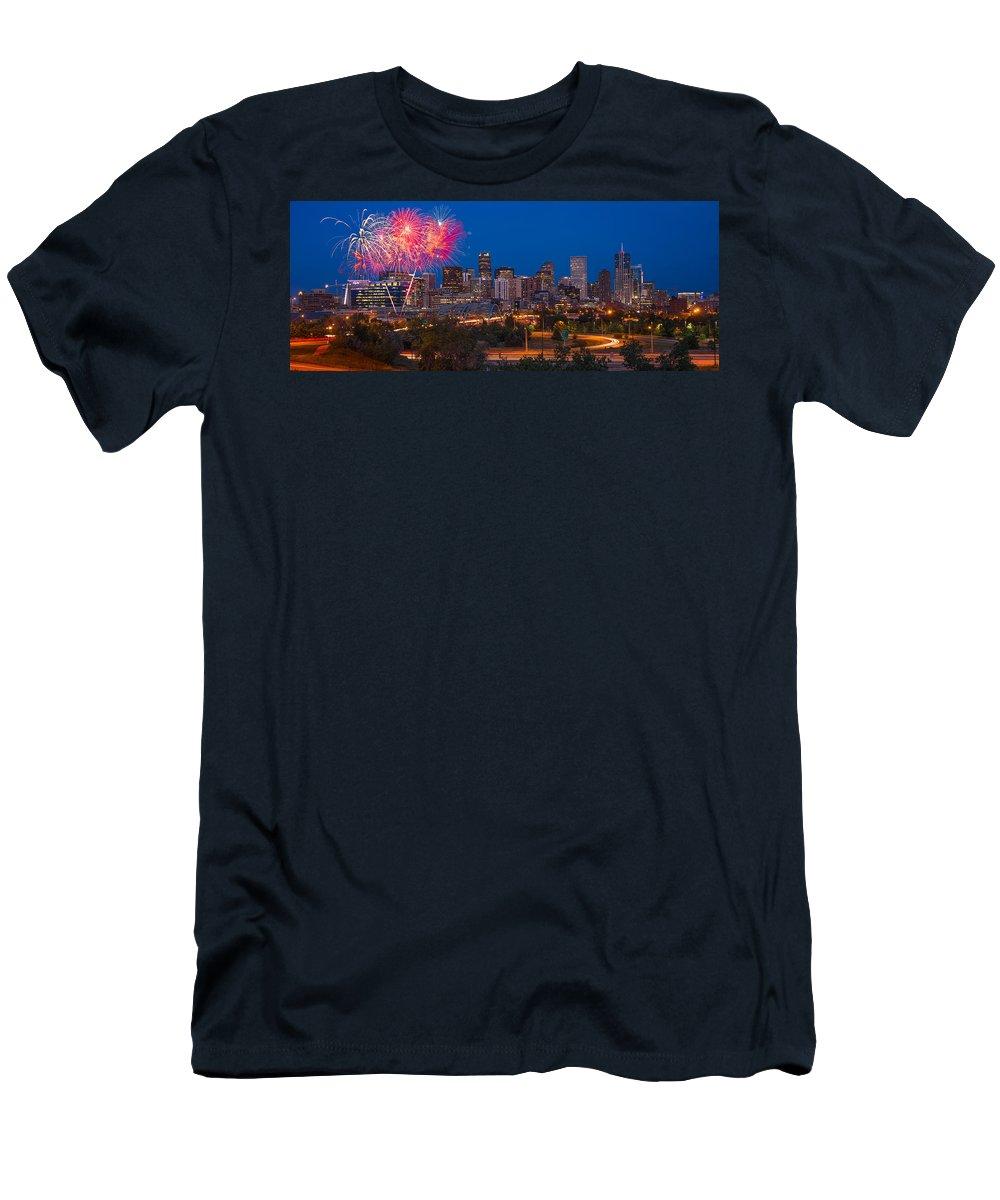 Denver Men's T-Shirt (Athletic Fit) featuring the photograph Denver Skyline Fireworks by Steve Gadomski