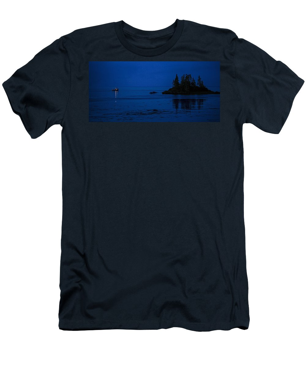 Departure Before First Light Men's T-Shirt (Athletic Fit) featuring the photograph Departure Before First Light by Marty Saccone