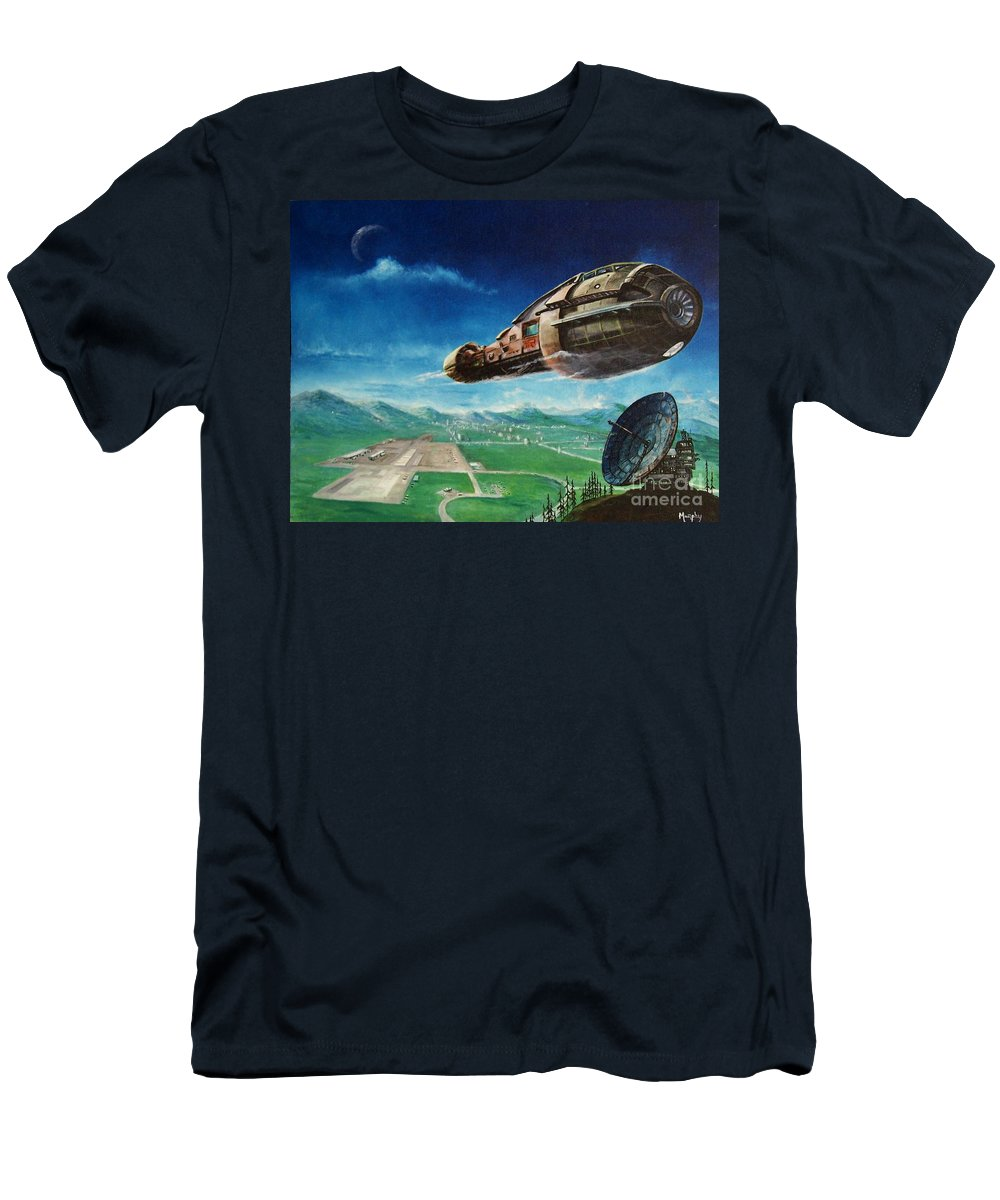 Landscape Men's T-Shirt (Athletic Fit) featuring the painting Did You Call by Murphy Elliott