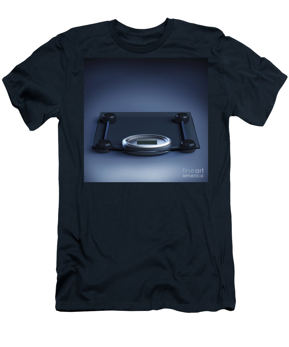 Blue Background Men's T-Shirt (Athletic Fit) featuring the photograph Digital Weighing Scales by Science Picture Co
