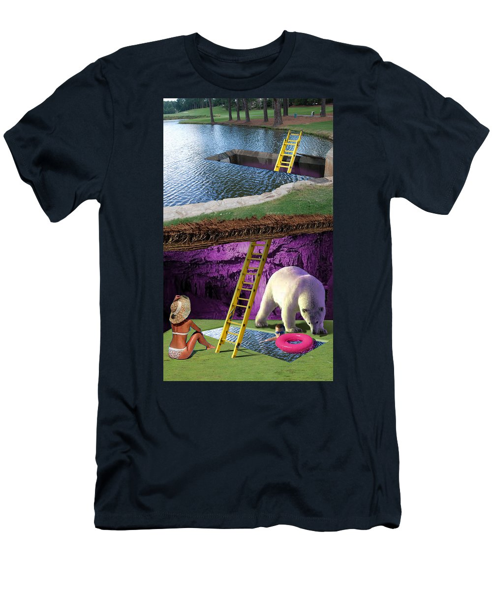 Polar Bear Men's T-Shirt (Athletic Fit) featuring the digital art Dirt Cocoon by Tommy Midyette