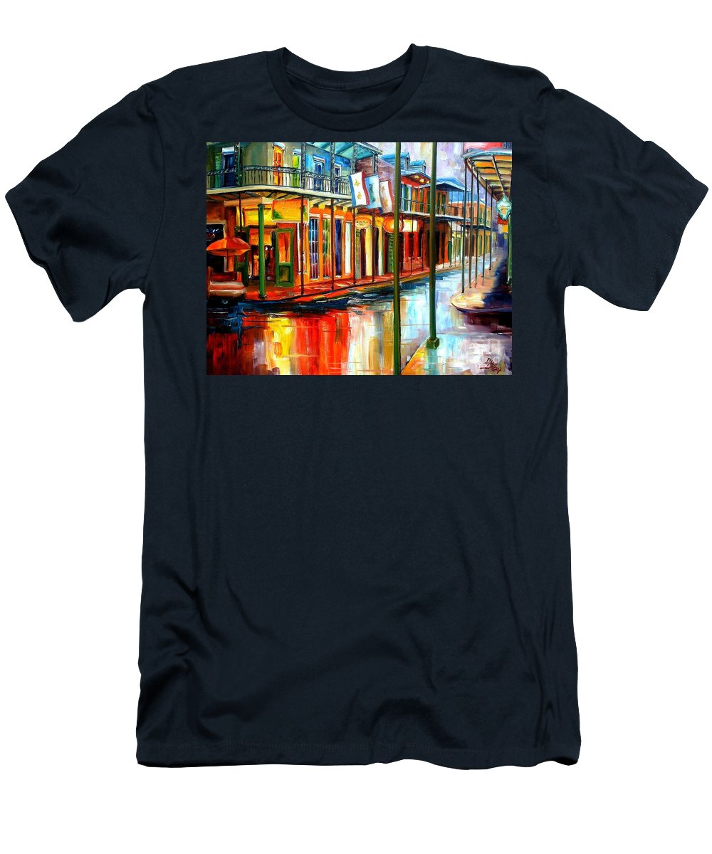 New Orleans Men's T-Shirt (Athletic Fit) featuring the painting Downpour On Bourbon Street by Diane Millsap
