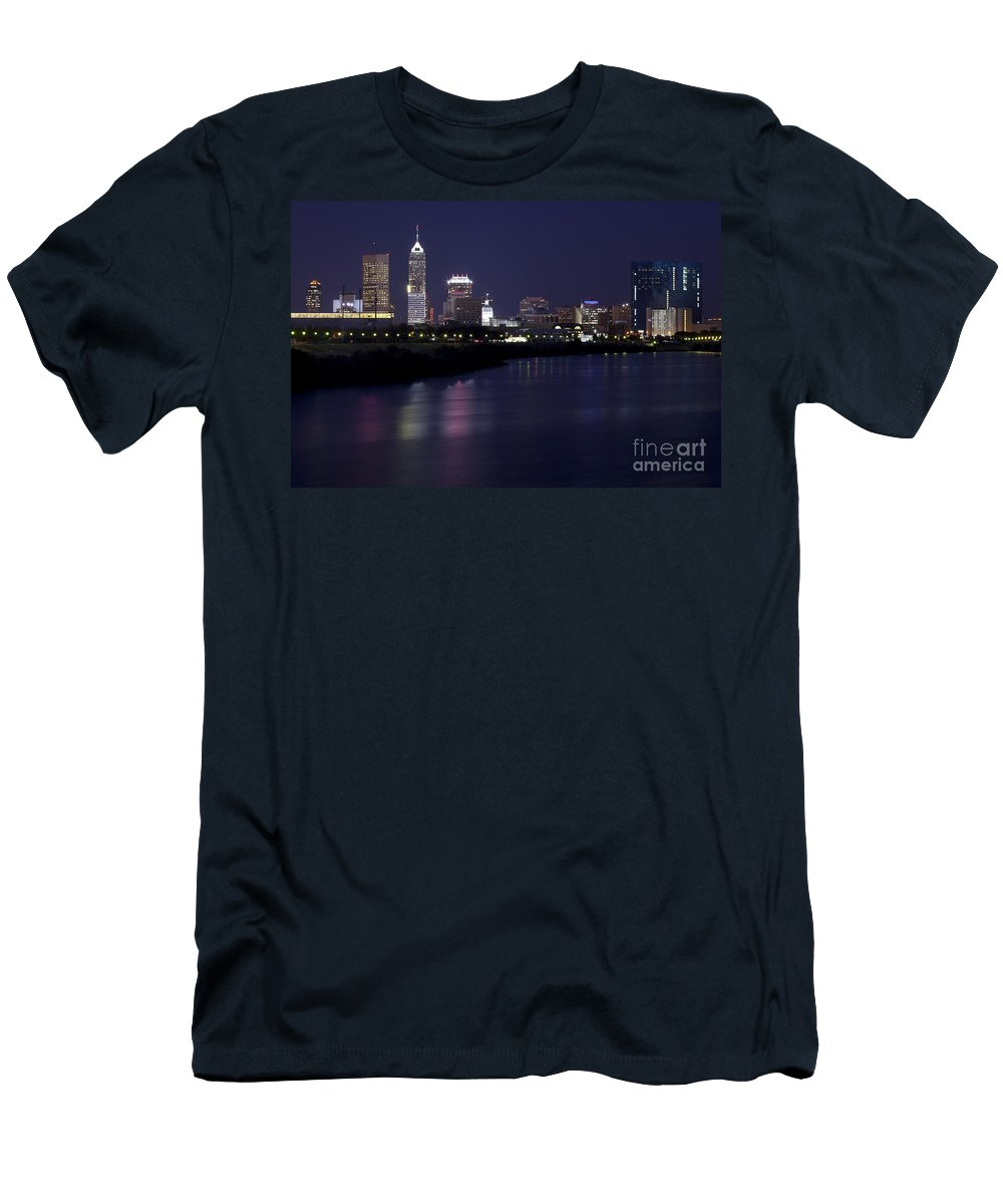 Downtown Men's T-Shirt (Athletic Fit) featuring the photograph Downtown Indianapolis Indiana by Anthony Totah