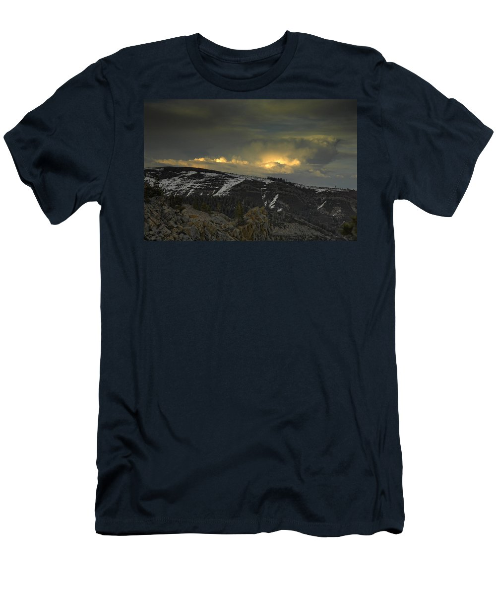 Mountains Men's T-Shirt (Athletic Fit) featuring the photograph Drama Is Coming by Donna Blackhall