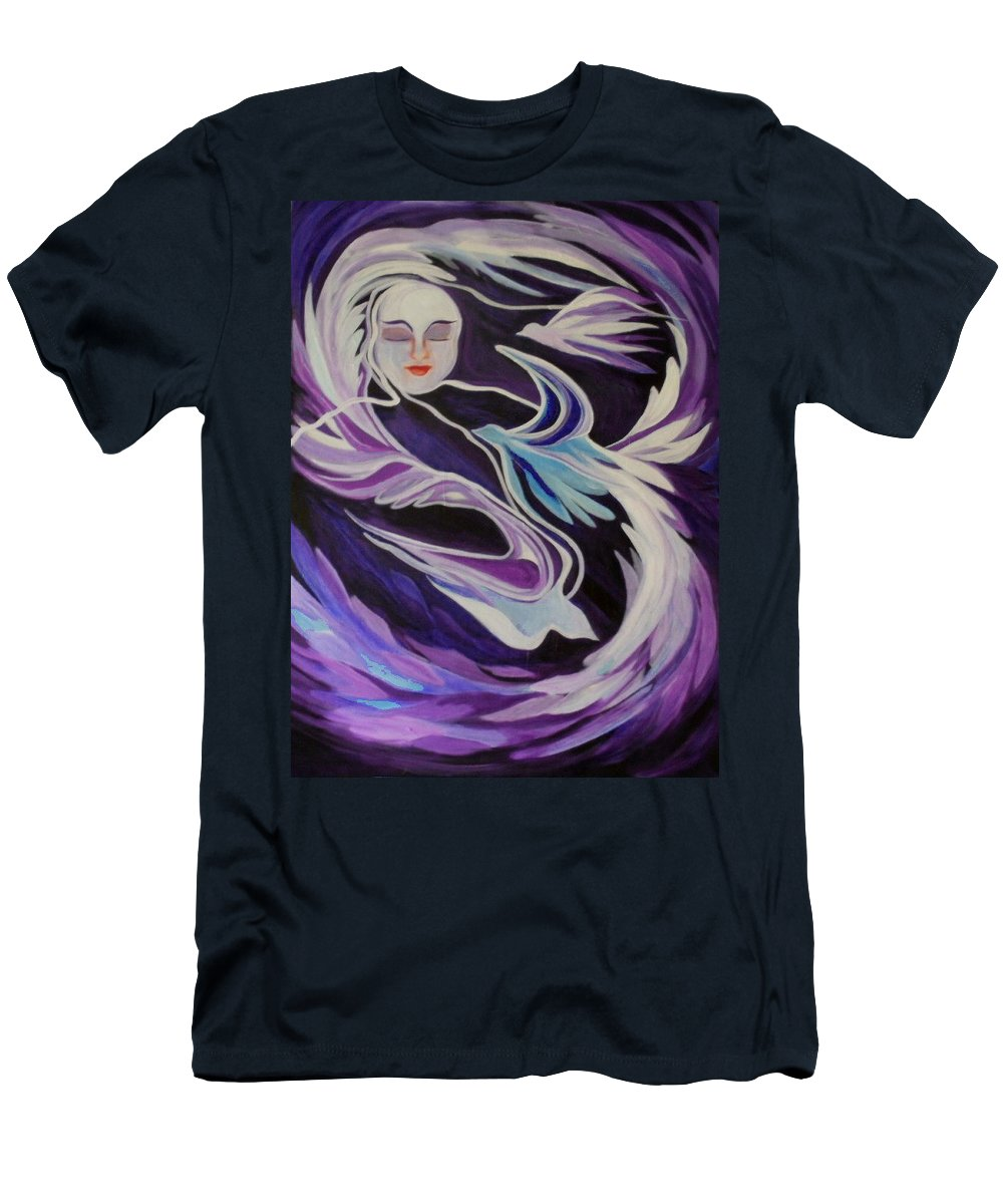 Dreams Men's T-Shirt (Athletic Fit) featuring the painting Dream On Little Soul by Carolyn LeGrand