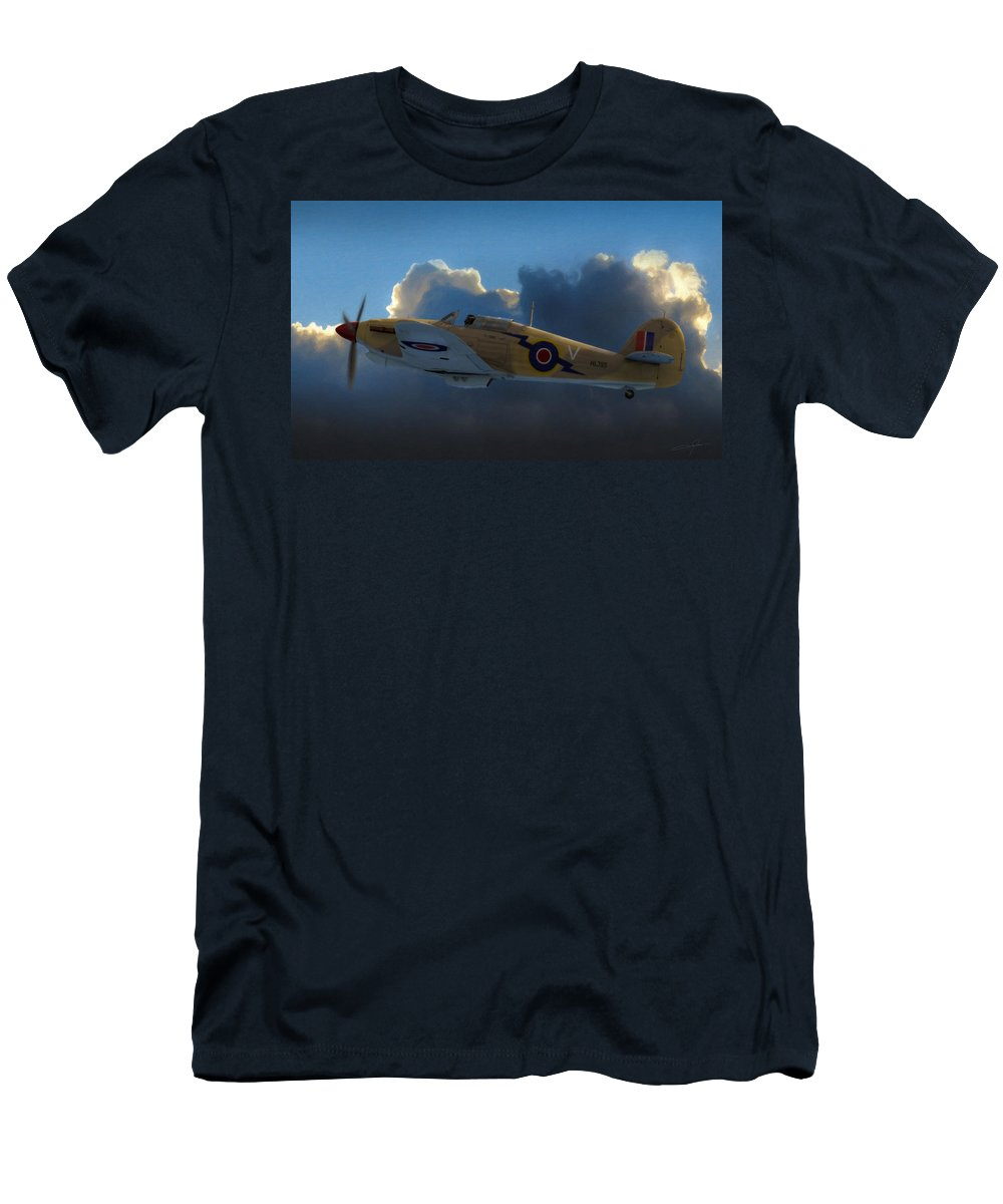 Hawker Hurricane Men's T-Shirt (Athletic Fit) featuring the digital art Early Morning Patrol by Dale Jackson