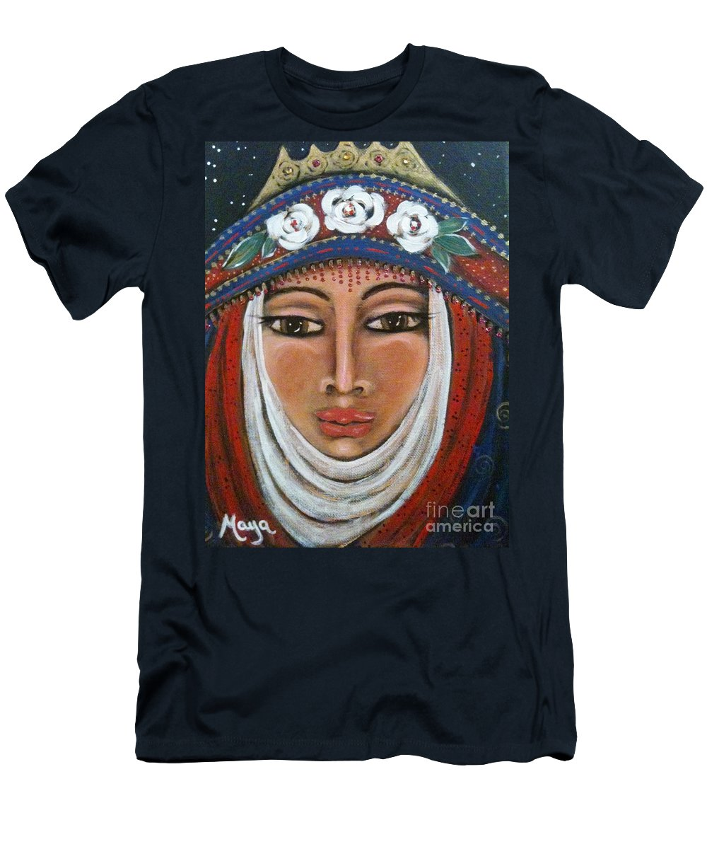 Energy Men's T-Shirt (Athletic Fit) featuring the painting Eleanor Of Aquitaine The Lioness In Winter by Maya Telford
