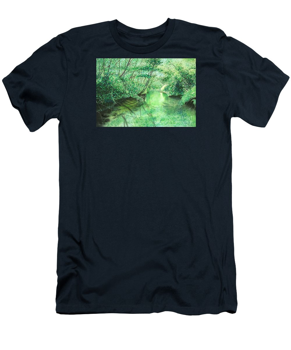 Landscape Men's T-Shirt (Athletic Fit) featuring the painting Emerald Stream by Lynn Quinn