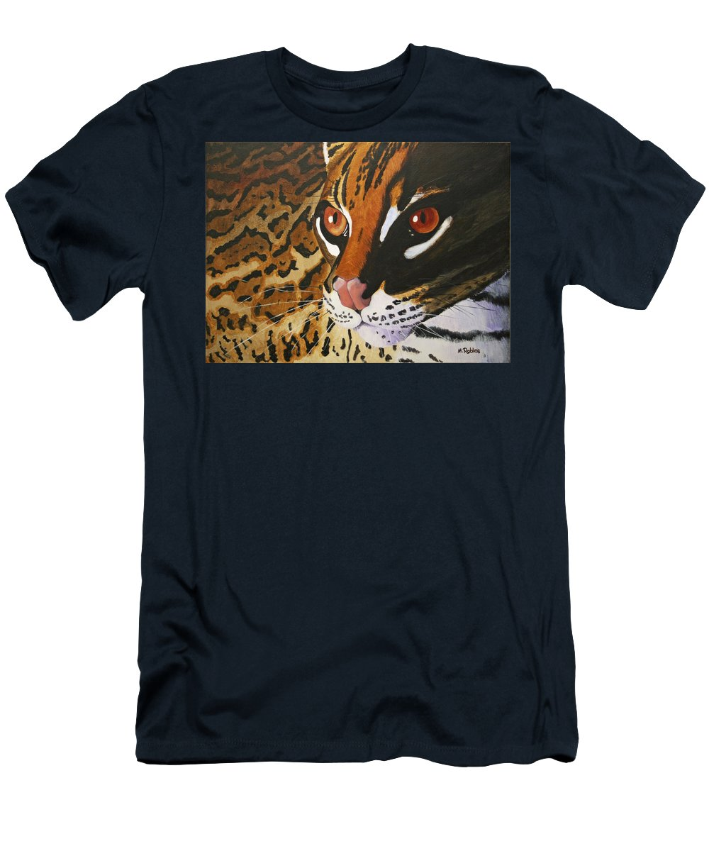 Endangered Men's T-Shirt (Athletic Fit) featuring the painting Endangered - Ocelot by Mike Robles