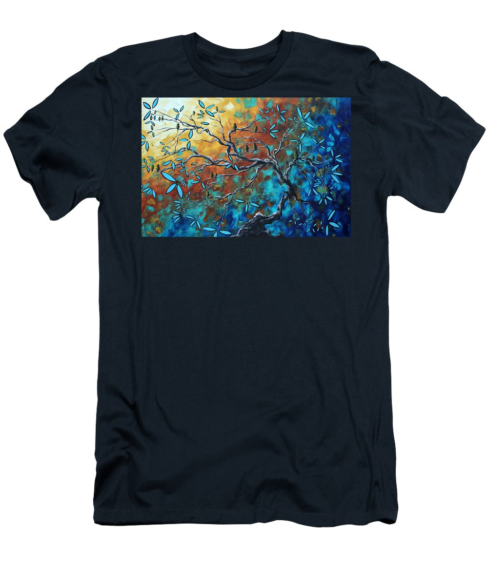 Art Men's T-Shirt (Athletic Fit) featuring the painting Enormous Abstract Bird Art Original Painting Where The Heart Is By Madart by Megan Duncanson