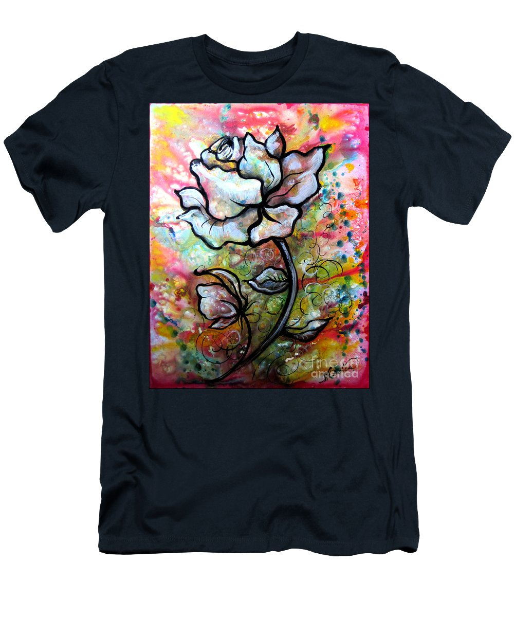Art Men's T-Shirt (Athletic Fit) featuring the painting Ethereal Rose by Shadia Derbyshire