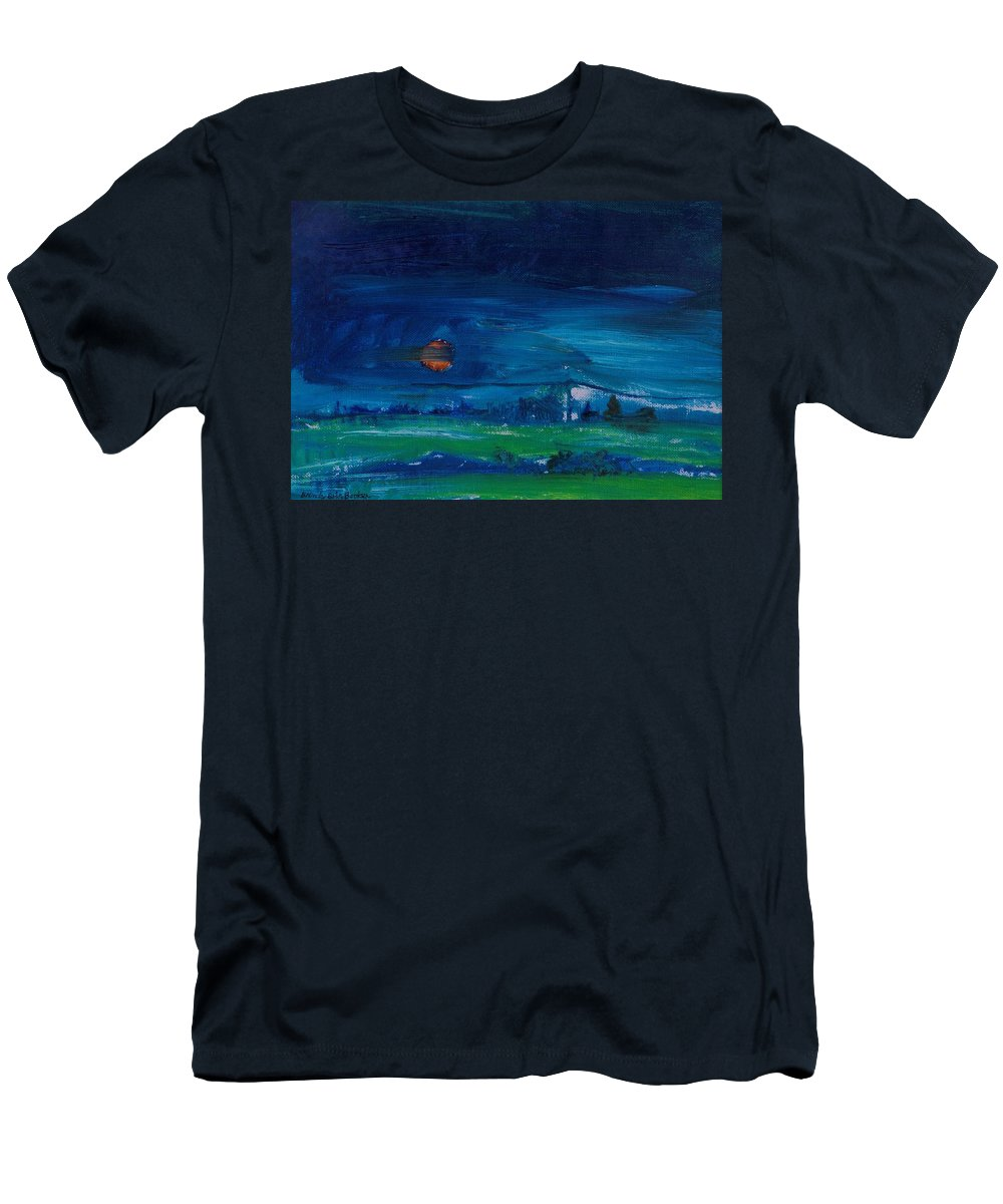 Dusk Men's T-Shirt (Athletic Fit) featuring the photograph Evening Landscape Oil On Canvas by Brenda Brin Booker