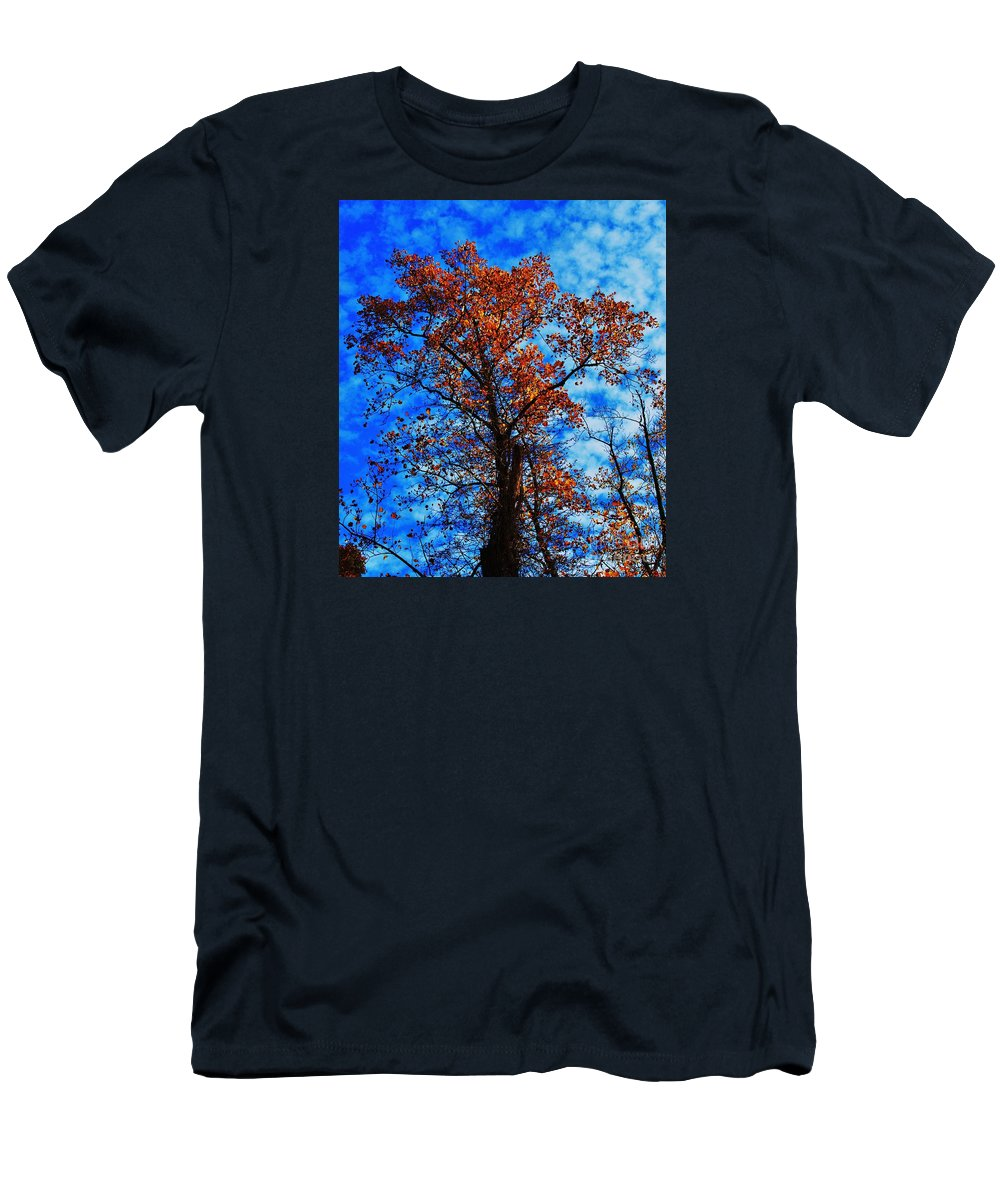 Tree Art Fall Outdoors Copper Leaves Sky Nature Seasonal Stock Shot Vertical Autumn Metal Frame Highly Recommended Canvas Print Poster Print Available On Phone Cases Tote Bags Duvet Covers Shower Curtains Throw Pillows And T Shirts Men's T-Shirt (Athletic Fit) featuring the photograph Fall Majesty by Marcus Dagan