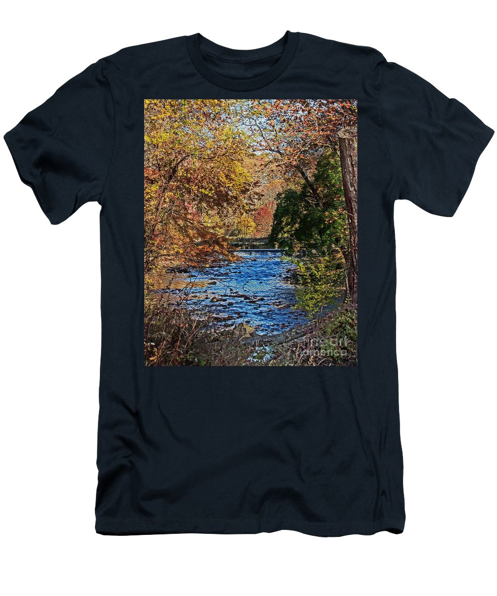 Plant Men's T-Shirt (Athletic Fit) featuring the photograph Fall Stream by Tom Gari Gallery-Three-Photography