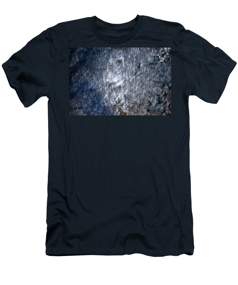 Outdoors Men's T-Shirt (Athletic Fit) featuring the photograph Farm In The Woods On A Hill by Paulette B Wright