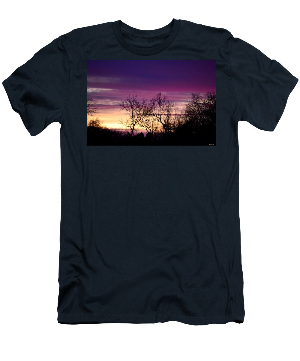 February's Dramatic Sunrise Men's T-Shirt (Athletic Fit) featuring the photograph February's Dramatic Sunrise by Maria Urso