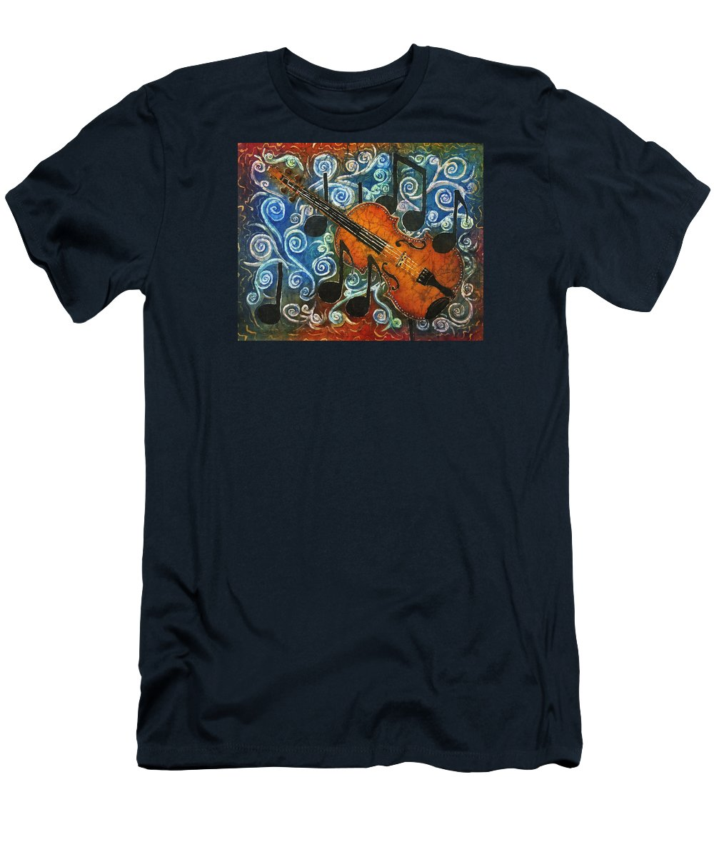 Fiddle Men's T-Shirt (Athletic Fit) featuring the painting Fiddle 1 by Sue Duda