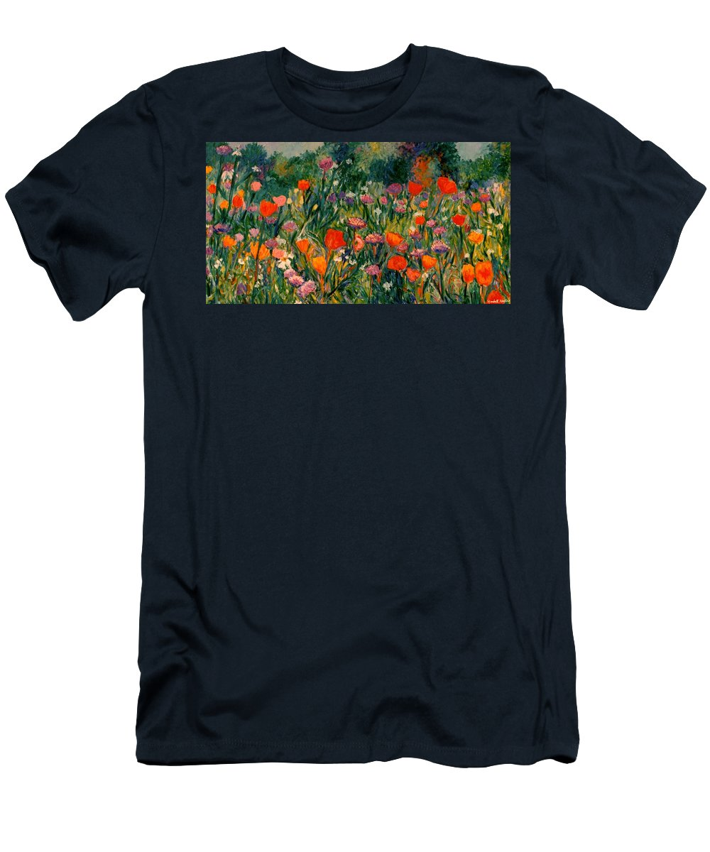 Flowers Men's T-Shirt (Athletic Fit) featuring the painting Field Of Flowers by Kendall Kessler