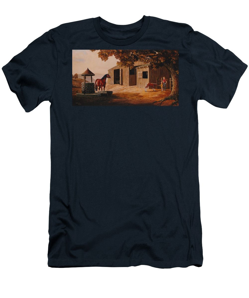 Farm Men's T-Shirt (Athletic Fit) featuring the painting First Meeting by Duane R Probus