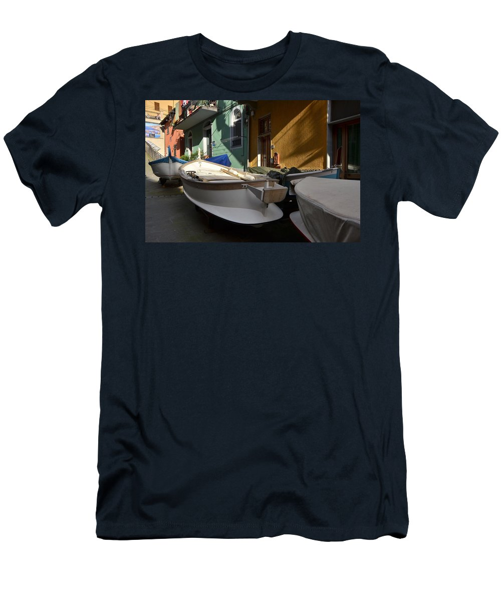 Manarola Men's T-Shirt (Athletic Fit) featuring the photograph Fishing Boats In Manarola - Cinque Terre by Dany Lison