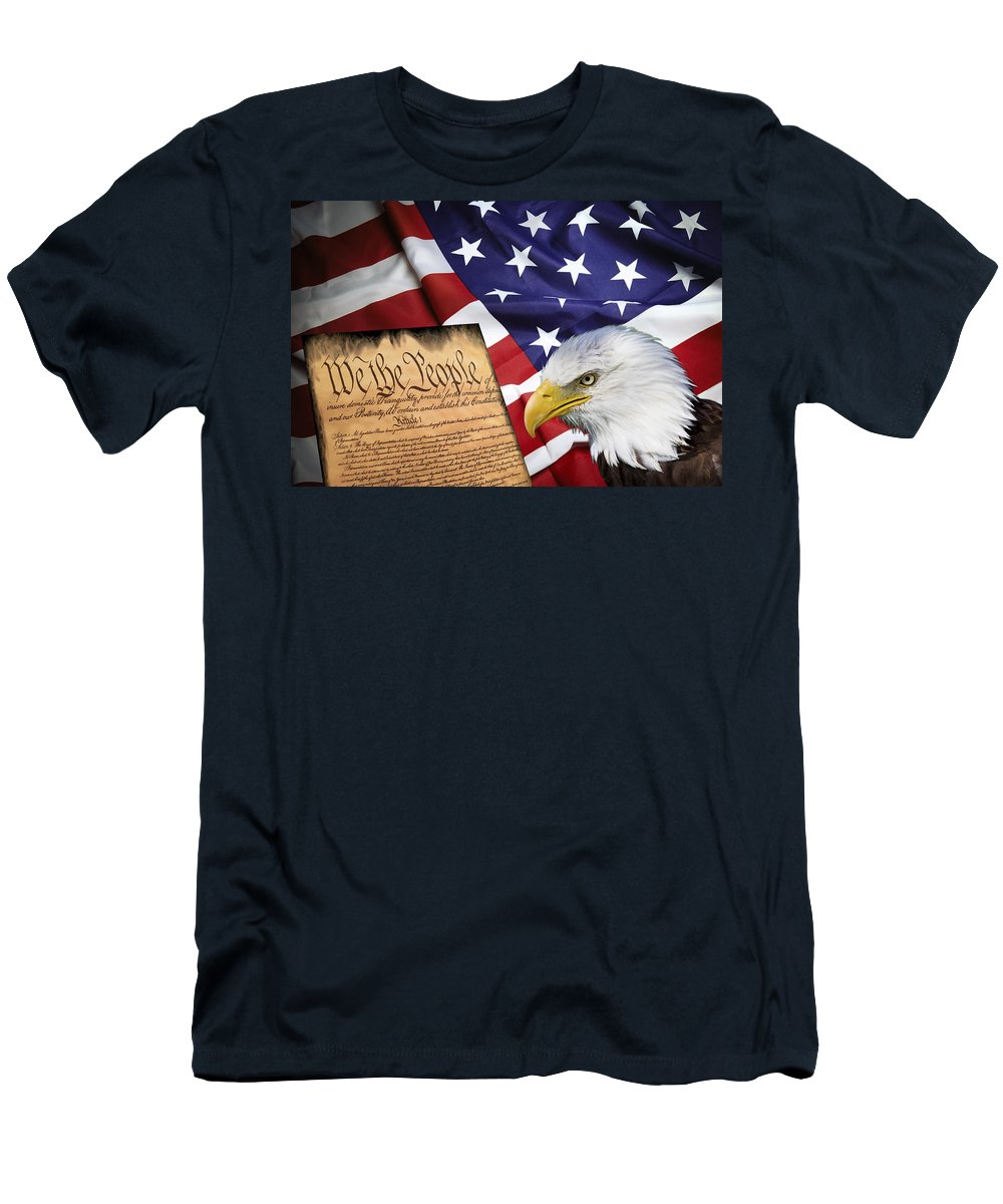 America Men's T-Shirt (Athletic Fit) featuring the digital art Flag Constitution Eagle by Daniel Hagerman
