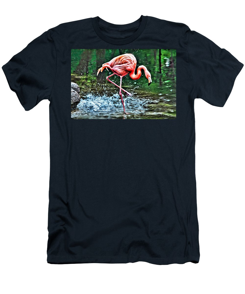 Flamingo Men's T-Shirt (Athletic Fit) featuring the photograph Flamingo Splash Two by Alice Gipson
