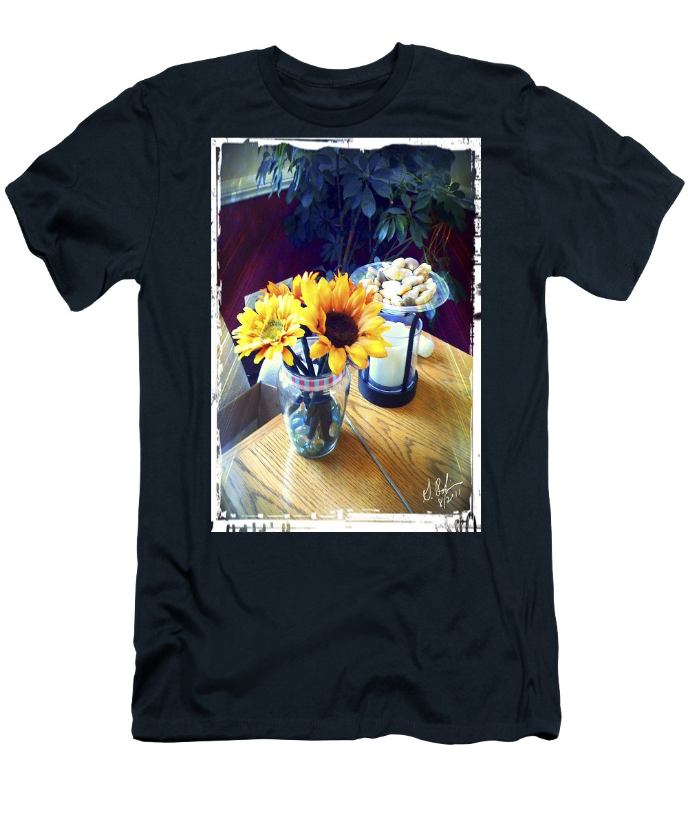 Flowers Men's T-Shirt (Athletic Fit) featuring the painting Flowers On Table by Gerry Robins