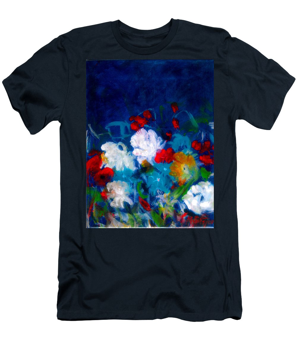 Abstract Men's T-Shirt (Athletic Fit) featuring the painting Flowers4 by Mira Satryan