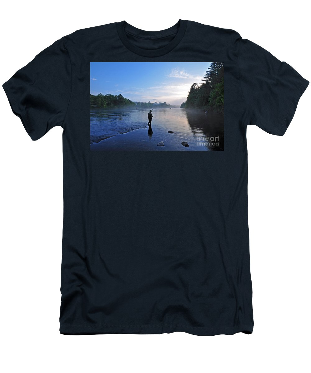 Fly Fishing Men's T-Shirt (Athletic Fit) featuring the photograph Flyfishing In Maine by Glenn Gordon