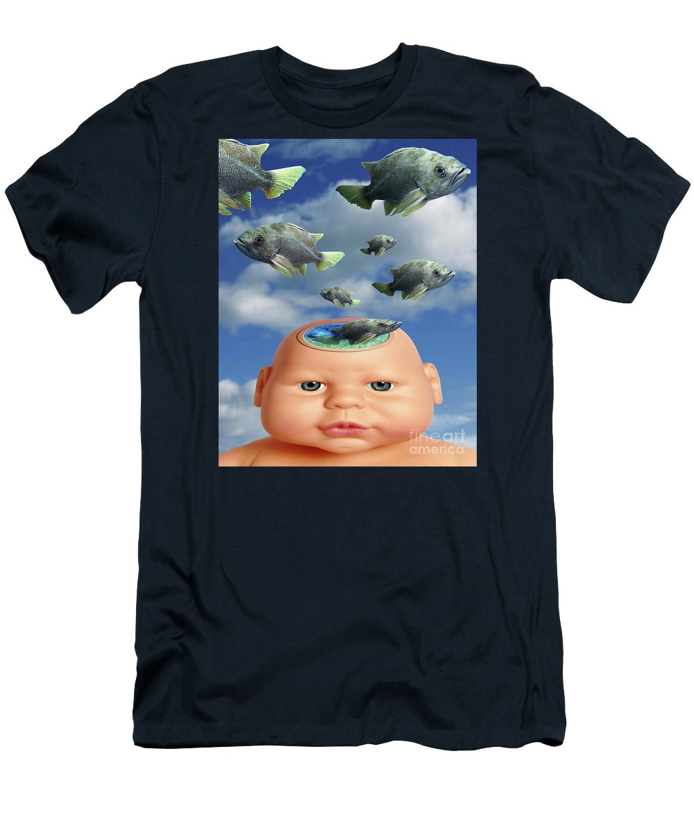 Baby Men's T-Shirt (Athletic Fit) featuring the digital art Flying Head Fish by Keith Dillon